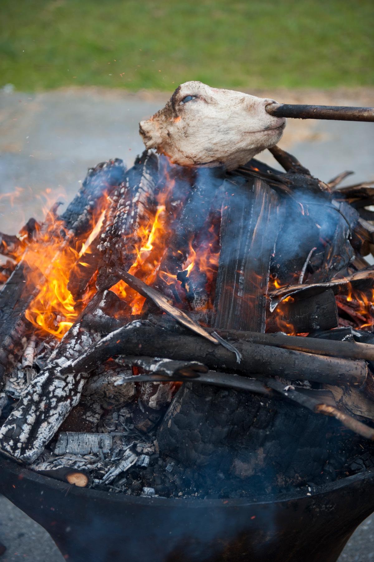 Noorwegen_Van de schapekop worden eerst de haren afgebrand 1