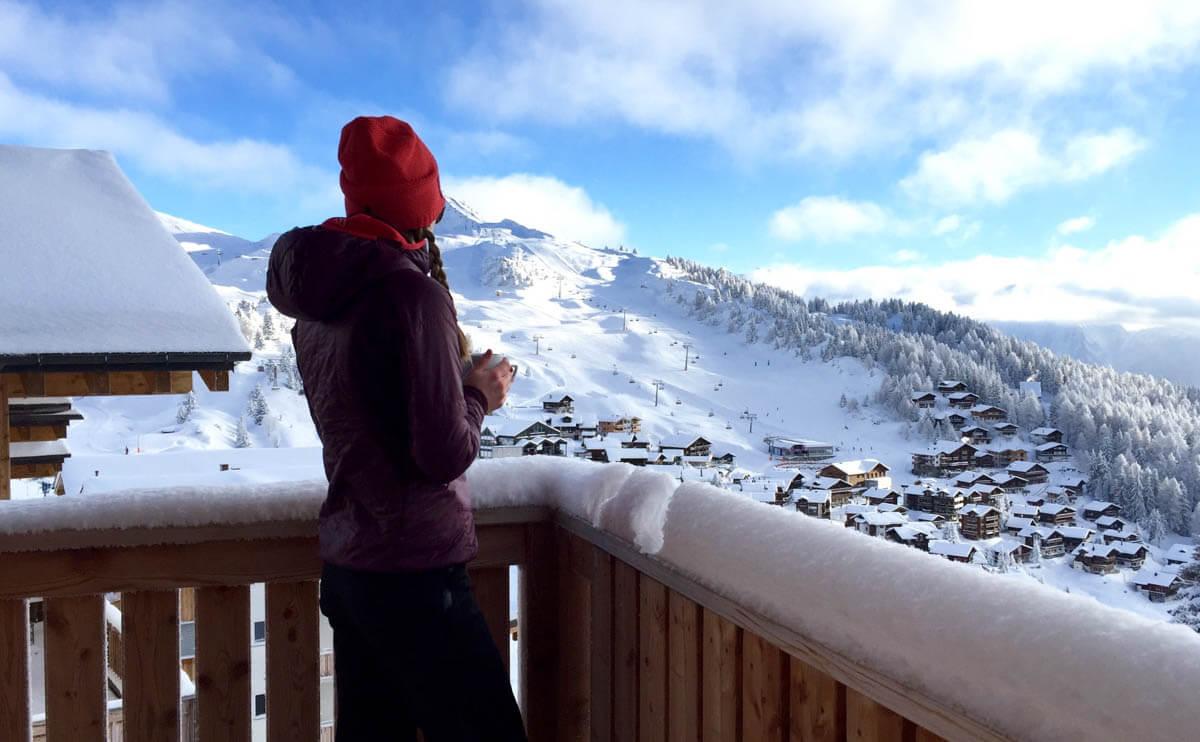 uitzicht vanaf balkon Haus Nussbaum over de Bettmeralp