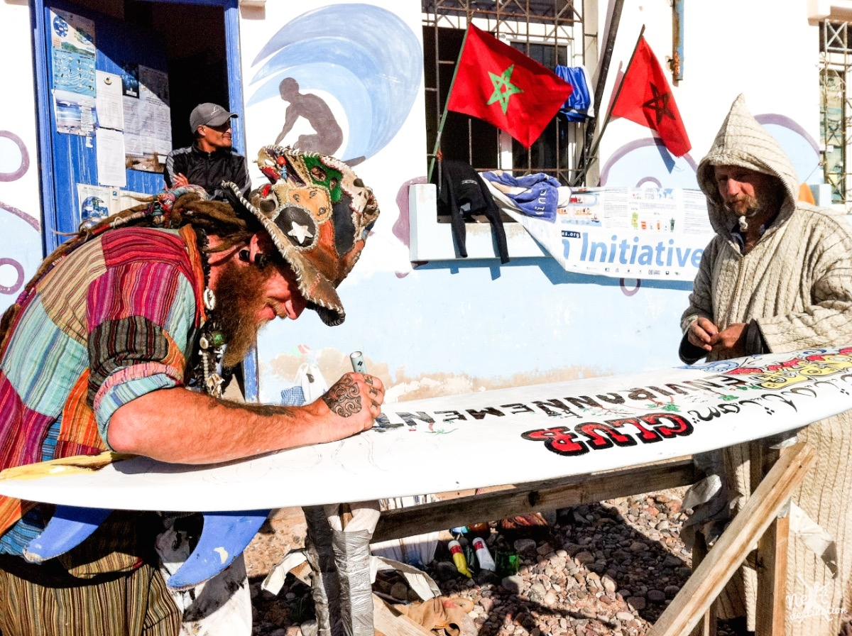 a funky mix of hippies, surfers and locals at the beach Sidi Ifni.jpg